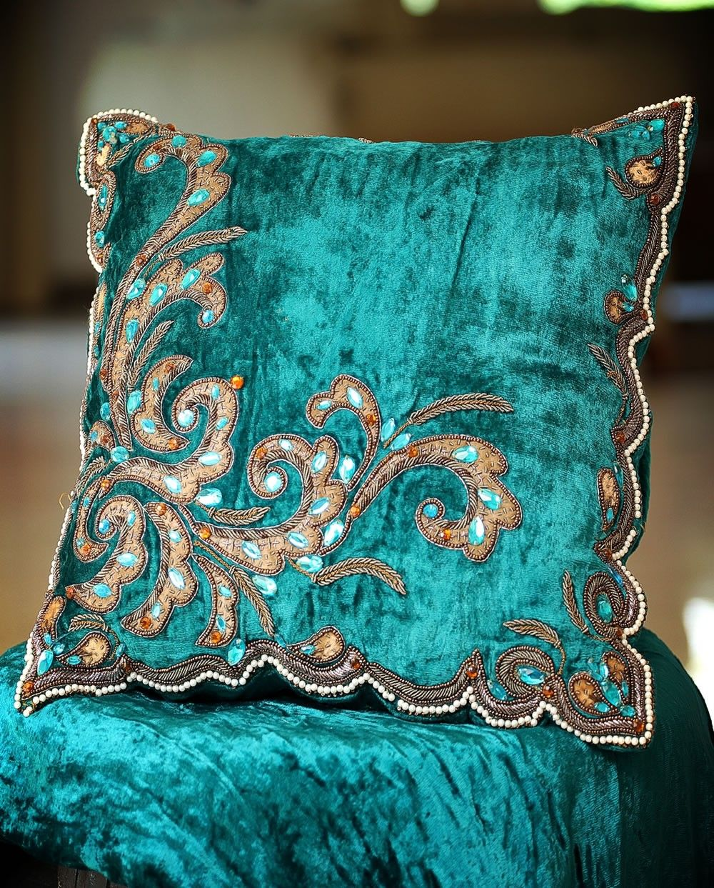 Turquoise blue Velvet decorative cushion with embroidery Pillows