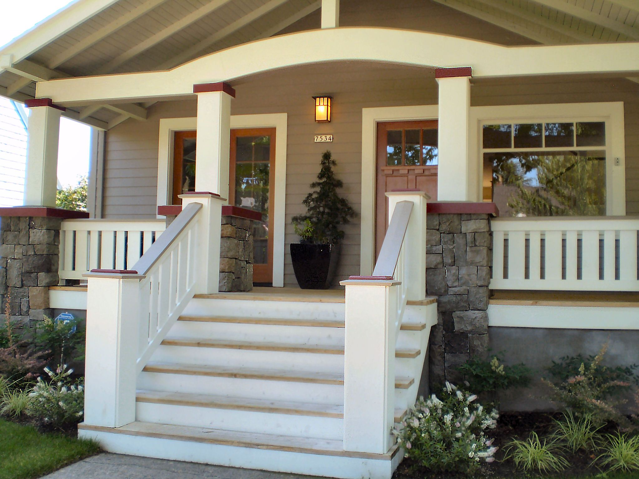 Wood porch railings and columns front porch pinterest for House plans with columns and porches