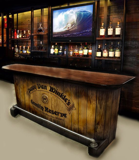 Home bar custom hand built rustic whiskey pub man by for How to build a wall bar