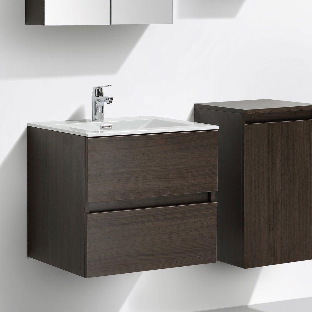 meuble salle de bain design simple vasque siena largeur 60 cm chne marron le monde - Largeur Salle De Bain