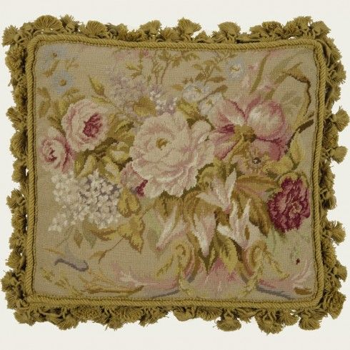 FADED ROSES & CARNATIONS Handmade needlepoint cushion 100% wool on cotton canvas  Size:14x14 in  $270.00