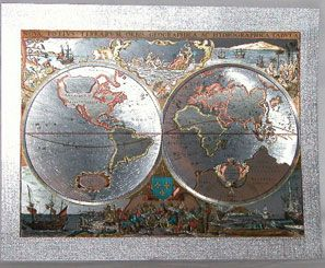 Old world antique map silver foil geography maps old and new old world antique map silver foil geography gumiabroncs Images