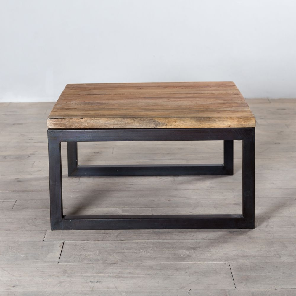Jerome S Square Coffee Table: Reclaimed Wood And Weathered Iron Square Coffee Table From