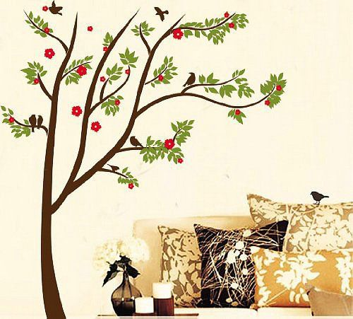 Hunnt Contemporary Trees Colorful Leaves And Birds Wall Sticker
