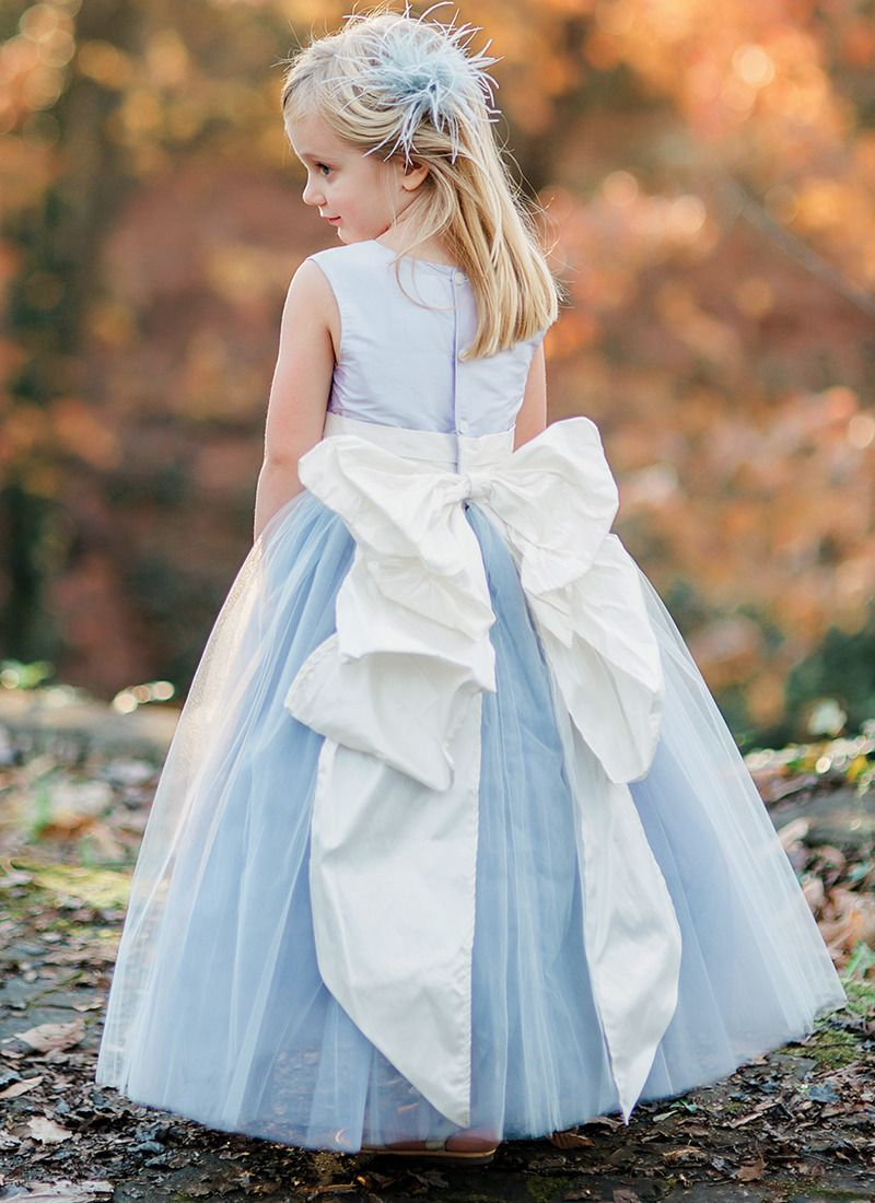 75e934159608 Flower girl dresses in all shades of blue from soft pastels to rich,  vibrant hues of blue from @pegeendotcom