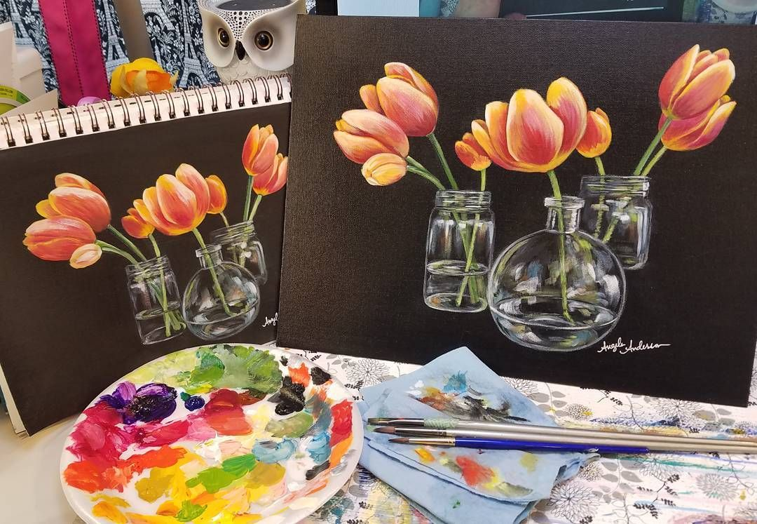 Tulips In Glass Vases Acrylic Painting Tutorial For Www