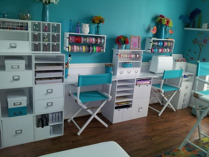 Craft Room   Recollection Storage Cubes And Panels From Michaels Make A  Great Craft Room Wall Unit And The Directors Chairs Add A Nice Touch!