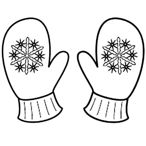 Cute Mitten Coloring Page | applique | Snowflake coloring ...