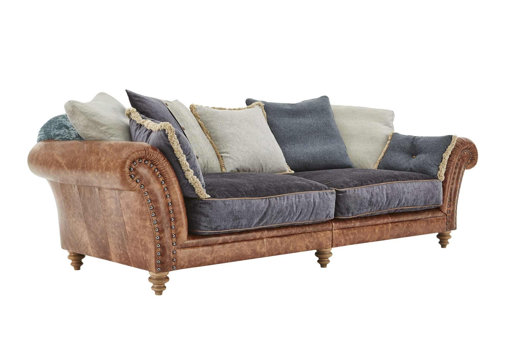 4 Seater Split Frame Leather Sofa Westwood Living room