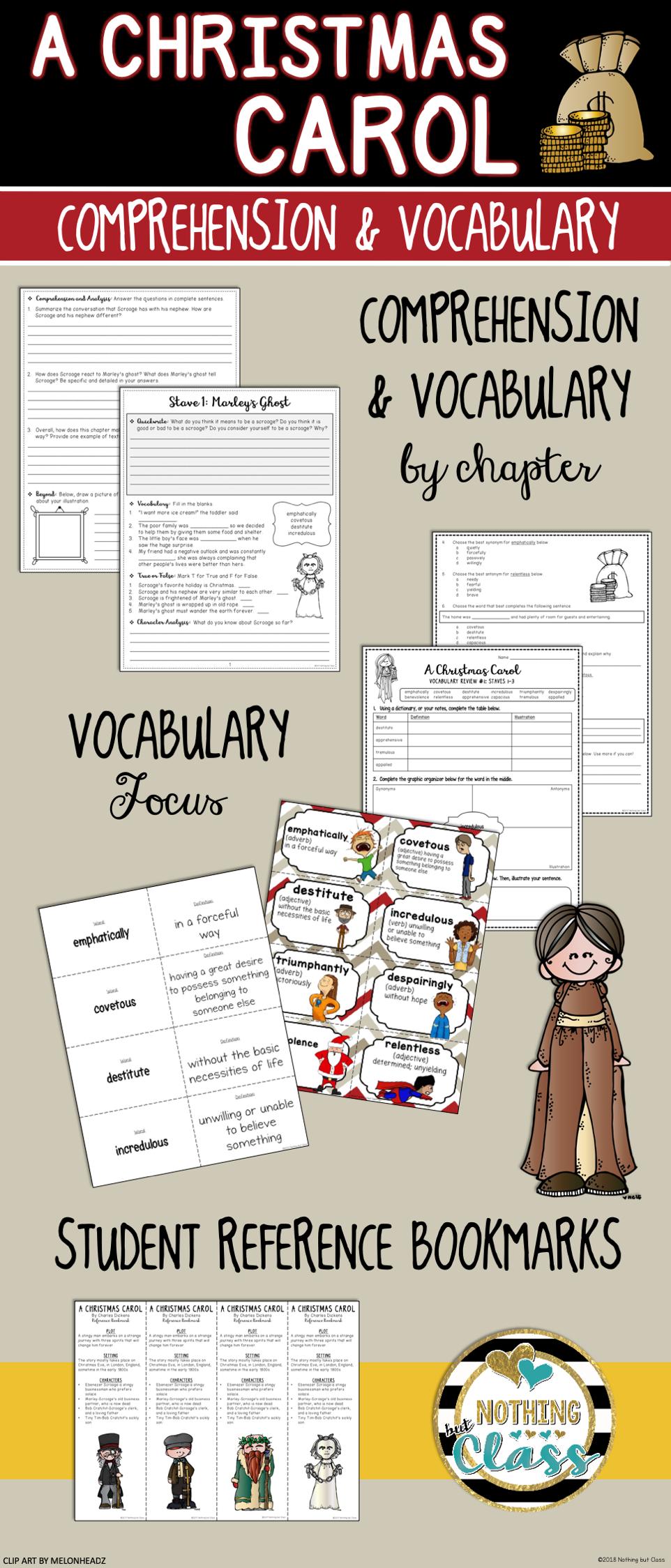 A Christmas Carol: Comprehension & Vocabulary Distance Learning   Vocabulary, Christmas carol ...