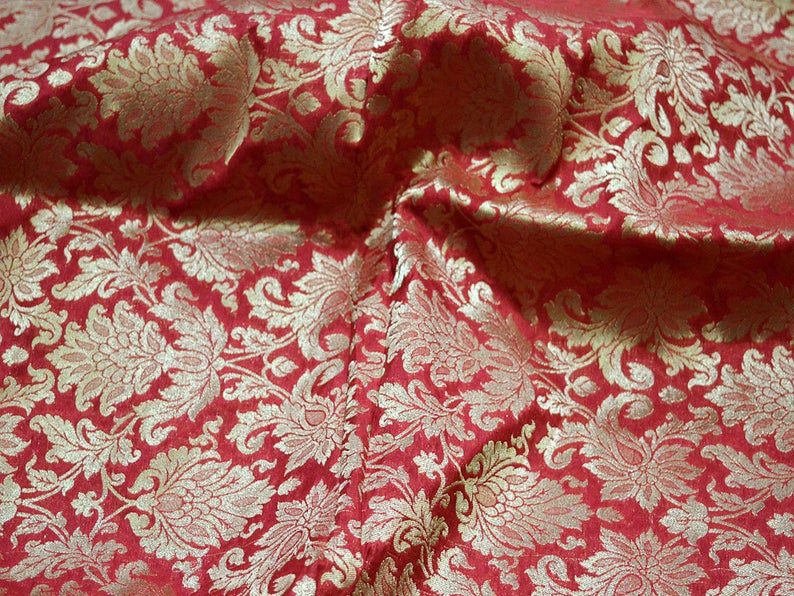 Silk Brocade Fabric in Maroon and Gold with Motifs Indian Silk Dresses Fabric Pure Banarasi Brocade Silk Fabric by the Yard crafting Sewing
