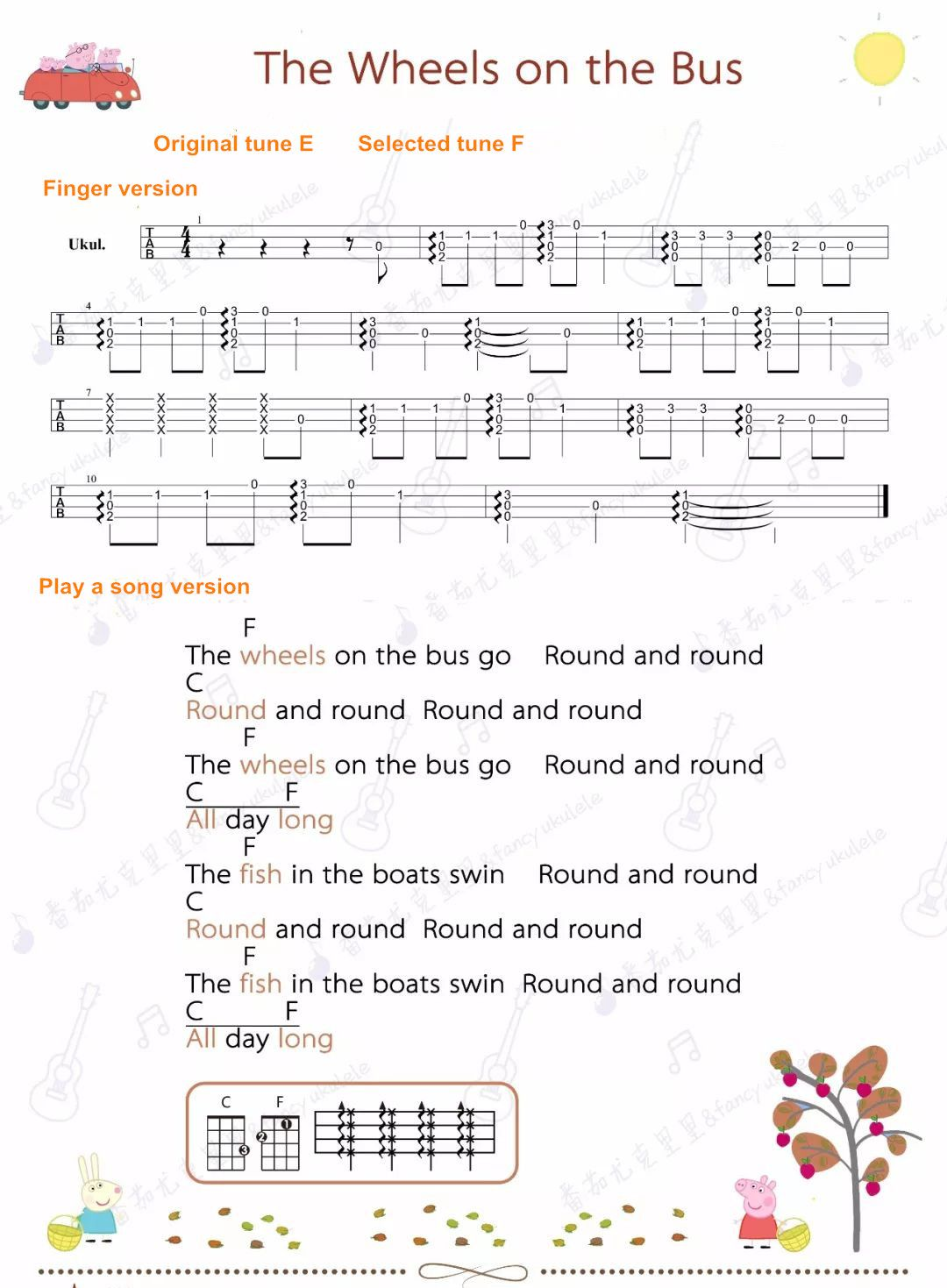 Peppa Pig Ukulele Sheet The Wheels On The Bus Peppa Pig Songs Ukulele Songs Wheels On The Bus