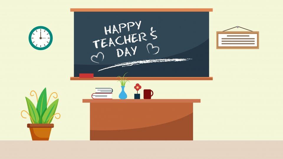 Foto Background Kelas Keren Bahan Latar Belakang Kelas Guru Kartun Warna Classroom Background Teachers Day Teachers Illustration