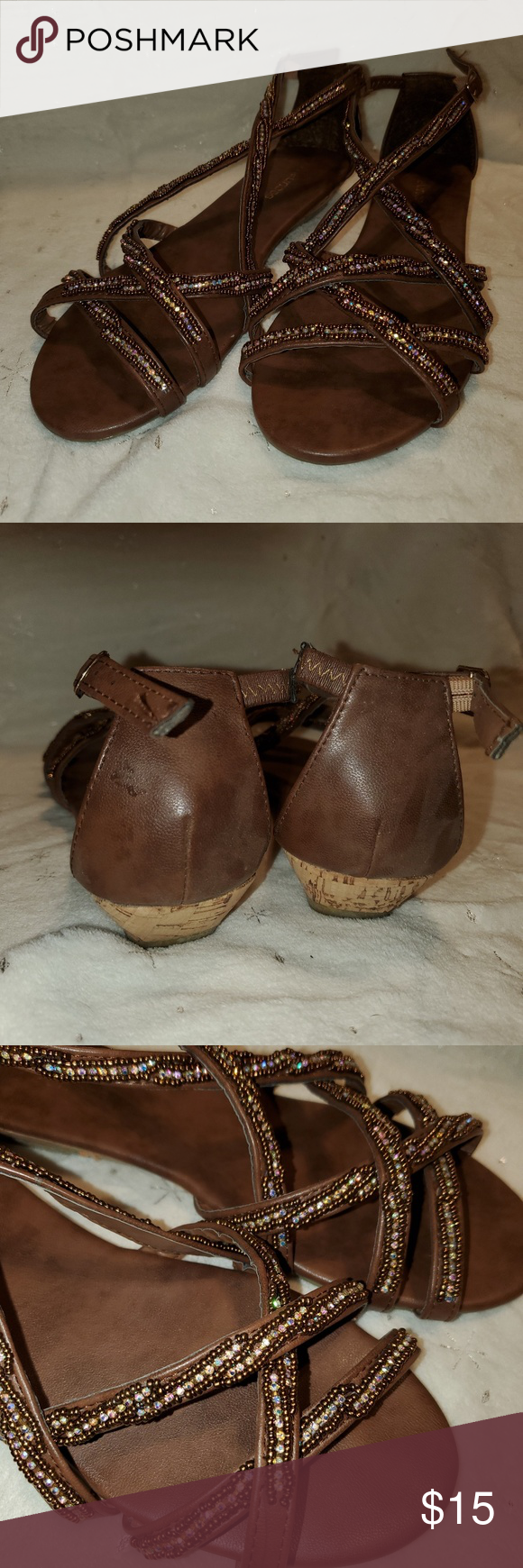 Low Wedge Sandals Brown with beaded straps. Low wedge, 1 heel. Great condition! Maurices Shoes Wedges #lowwedgesandals Low Wedge Sandals Brown with beaded straps. Low wedge, 1 heel. Great condition! Maurices Shoes Wedges #lowwedgesandals