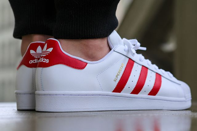 Adidas Originals Superstar Red White Sapatos Bonitos Sapatos Tenis