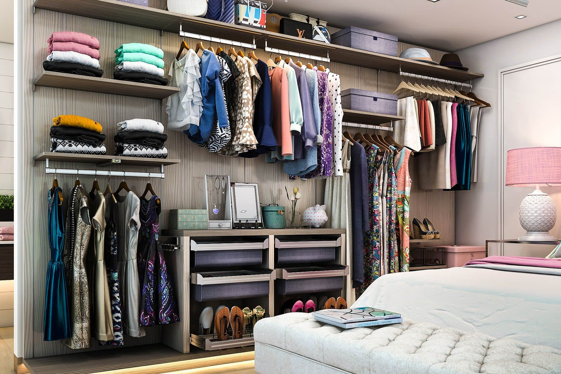 Finesse Wardrobe Closet Inspired By Italian Design Features Linen Drawers,  Floated Shelving And Rods And
