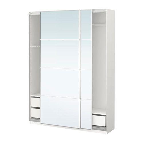 Pax Wardrobe White Auli Mirror Glass Inventions And