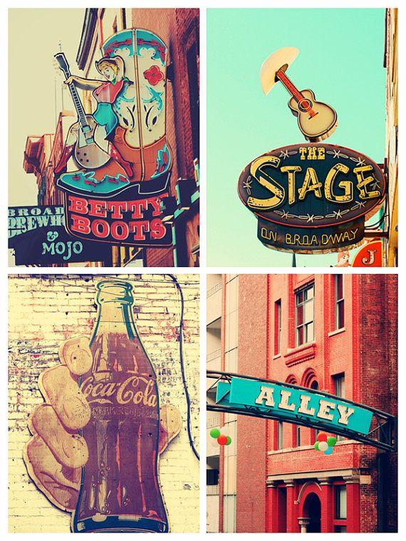 Nashville Signs Neon Sign Art Set Of 4 Prints Gallery Wall Etsy Nashville Art Nashville Decor Nashville Trip