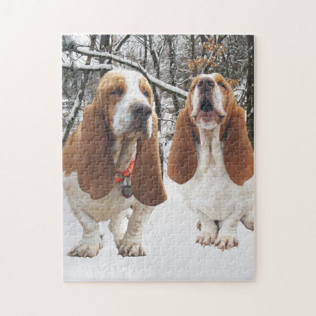 Basset Hounds in the Woods Jigsaw Puzzle #basset #hound #waddle #houndie #dog #JigsawPuzzle #jigsawpuzzle #doglovers #dog