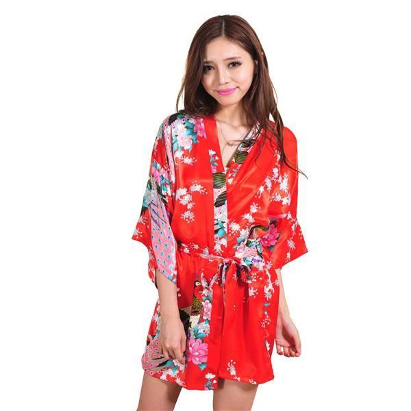 ada46771e7 Navy Blue Chinese Female Silk Robe Dress Sexy Mini Kimono Yukata Gown  Flower Peacock Mujer Pijama S M L XL XXL XXXL NR103