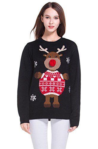 Women\u0027s Christmas Cute Reindeer Snowflakes Knitted Sweate