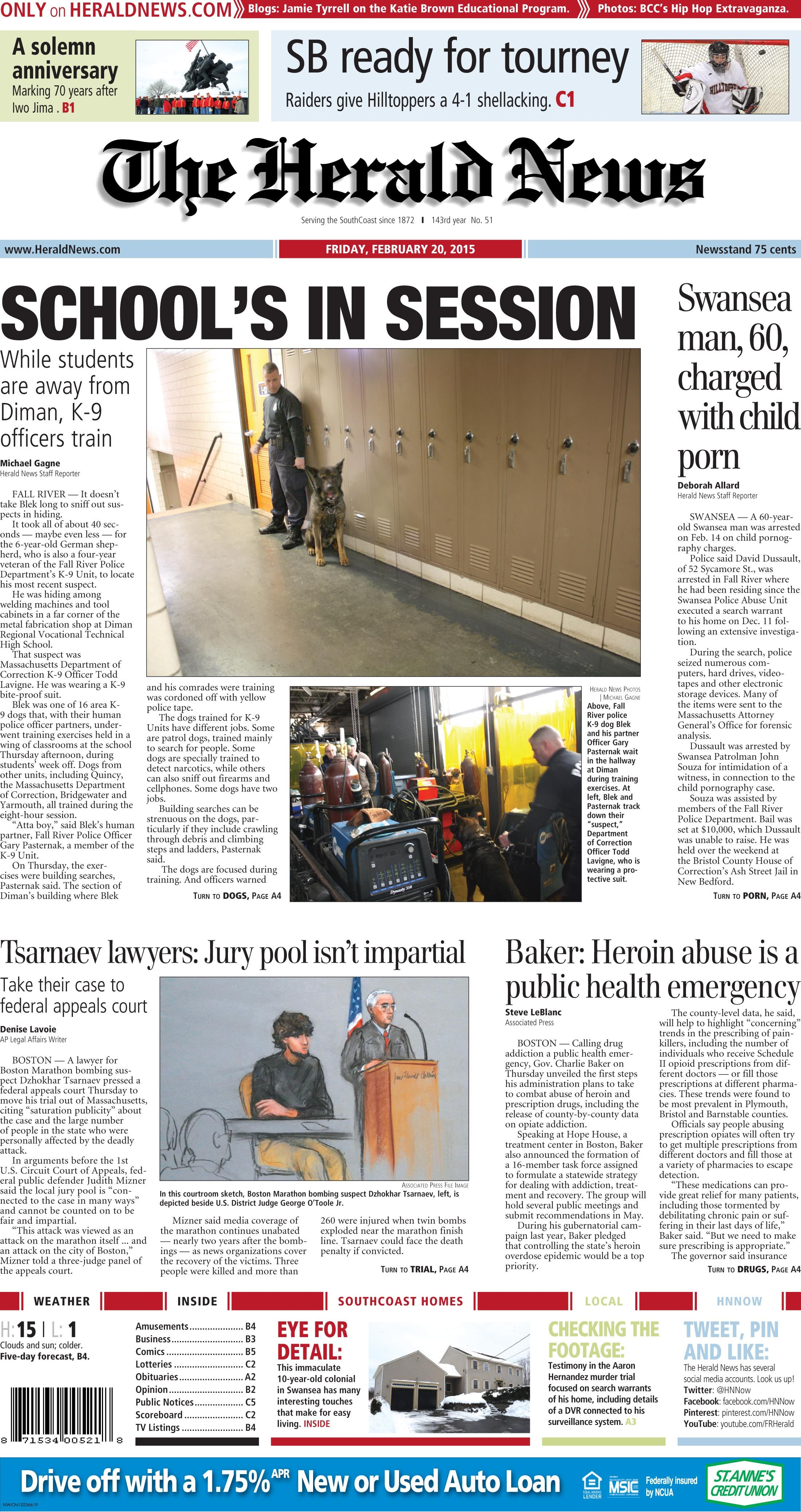 The Front Page Of The Herald News For Friday Feb 20 2015 Fallriver Herald News Fall River Herald