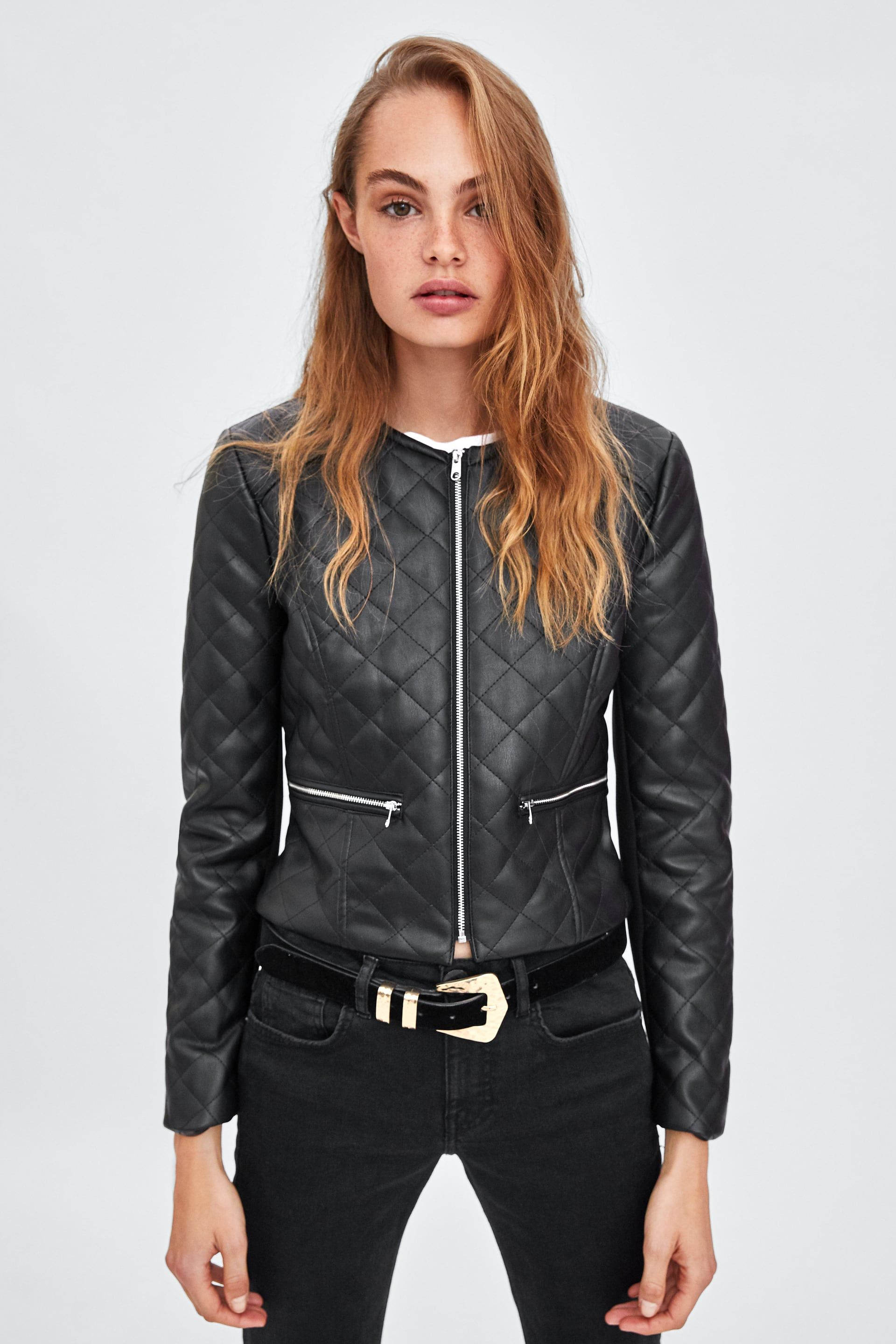 Image 2 of FAUX LEATHER PADDED JACKET from Zara Padded