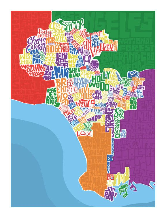 Los Angeles Neighborhood Type Map How To Draw Hands Typography Hand Drawn Map