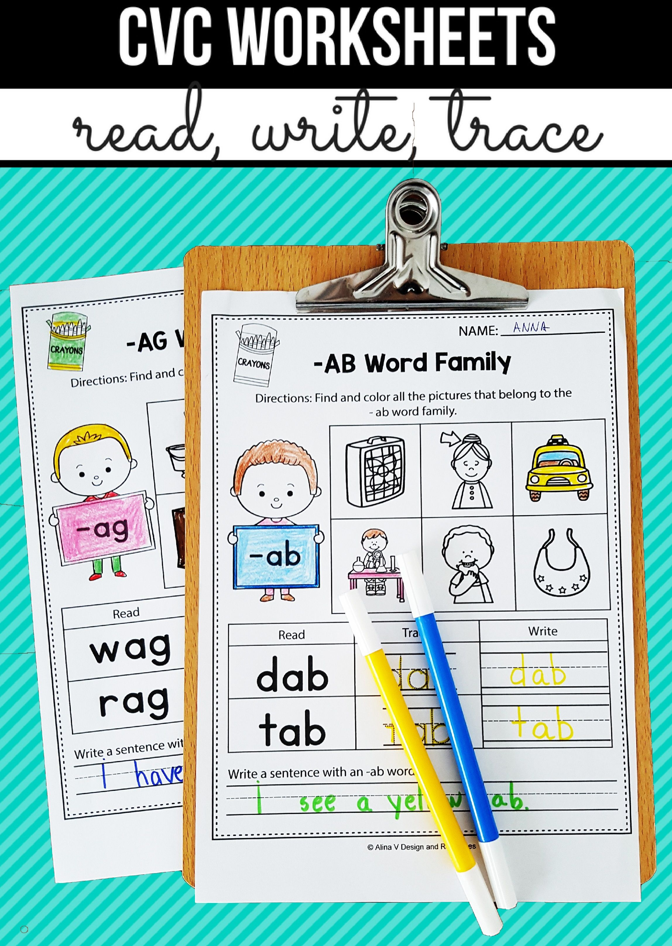 medium resolution of CVC Words Worksheets All Vowels CVC Word Families Worksheets Kindergarten    Cvc words