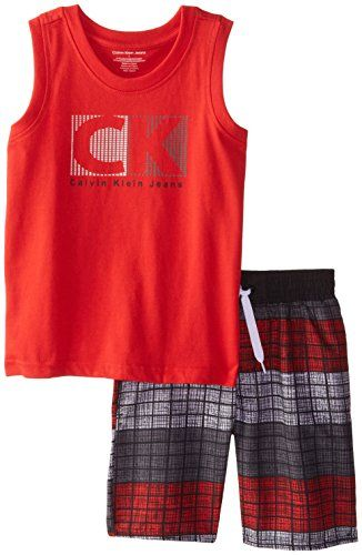 amazon com calvin klein little boys red tank top with on watchman on the wall calvin id=54227