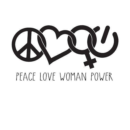 Peace Love Woman Power Symbol In Black With Words Woman And Girl