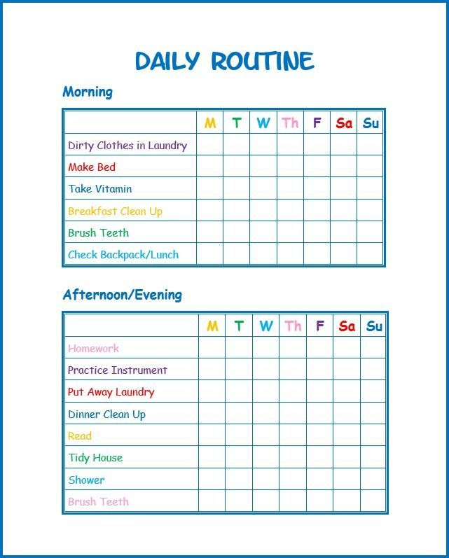 This daily routine printable for kids will help kids stay on task - free printable t chart