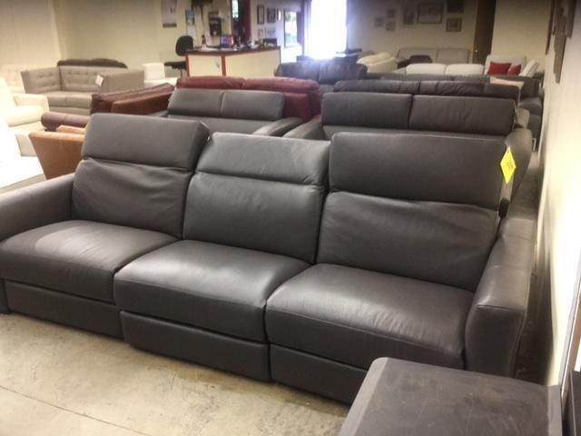 Macy S Nicolo Slate Leather Triple Power Reclining Sectional We Ship