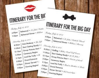 Wedding Timeline Printable Digital File Schedule By Pompcreative