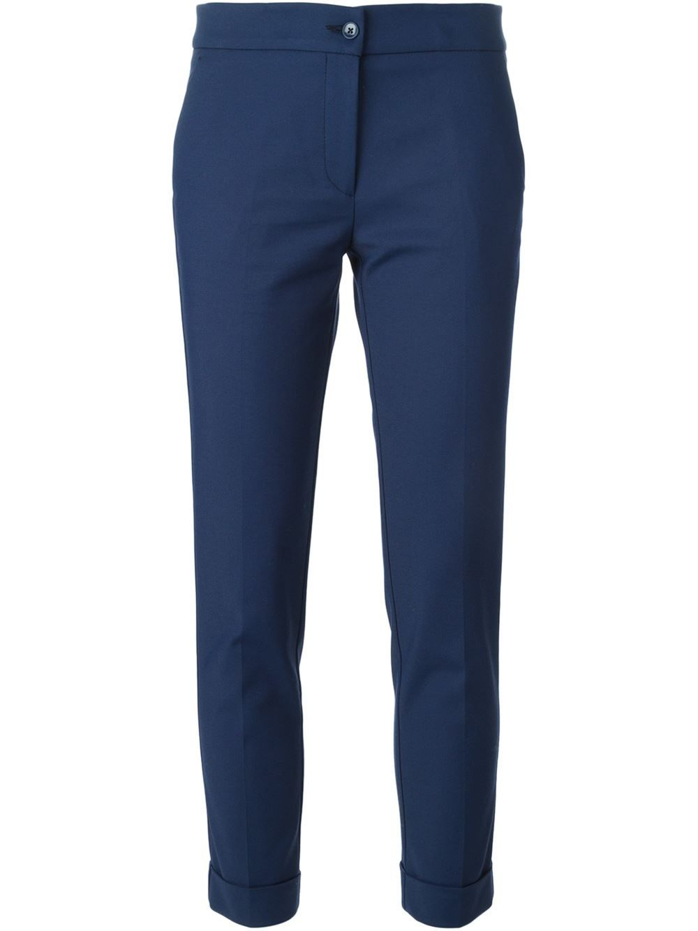 cropped slim-fit trousers - Blue Etro Cheap Manchester Knock Off Cheap Sale Pictures Cheap Discount Authentic Outlet Fashionable kGYhI5XQg