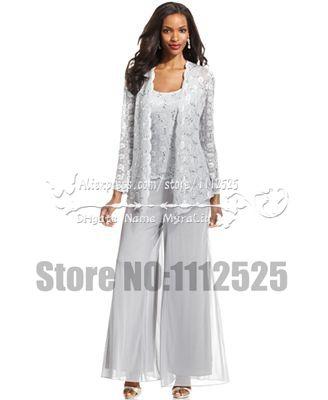Amp1007 encaje blanco 3 unid madre de la novia traje pantalón con la ...