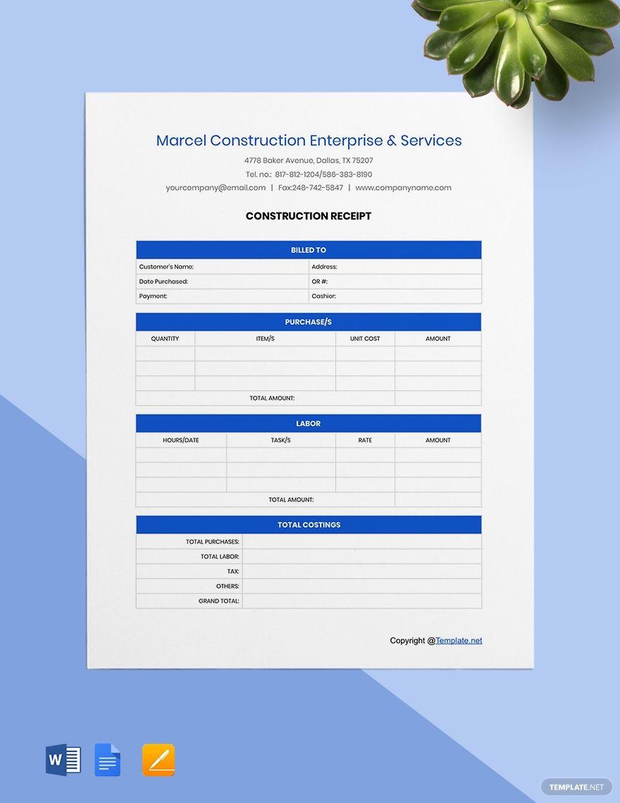 Free Sample Construction Receipt Template Receipt Template Templates Receipt
