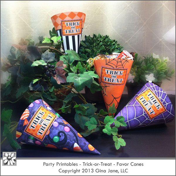 Halloween Printable Paper Treat Cones - Makes a great gift idea - halloween diy ideas