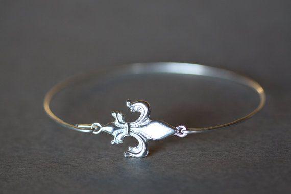 fleur de lis bracelet, silver bracelet, silver bangle, french bracelet, wire bangle, silver fleur de lis