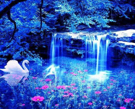 Magical Blue Fantasy Waterfall Photo Beautiful Backgrounds Beautiful Wallpapers Backgrounds Beautiful wallpaper magical background