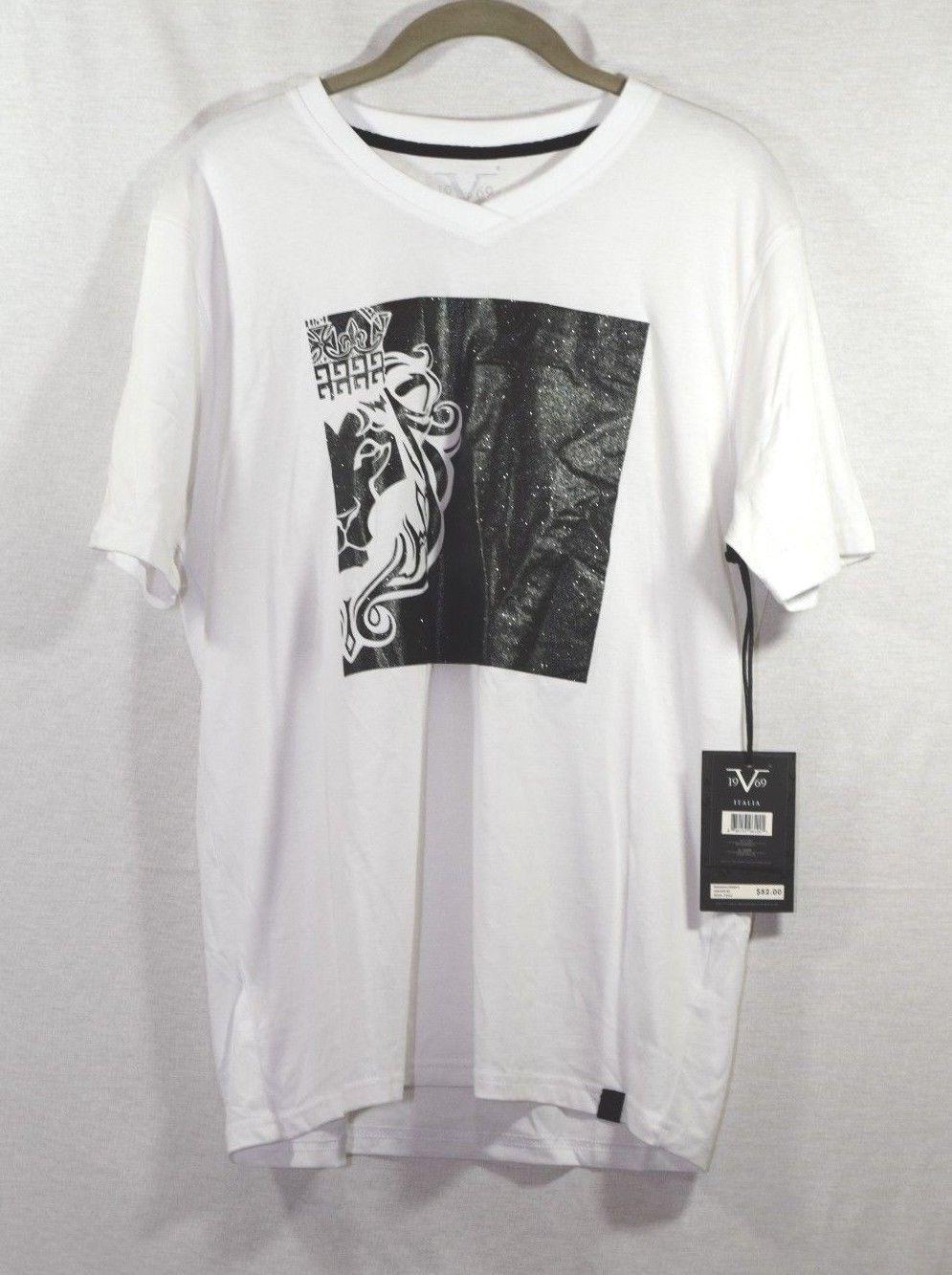 db034c30 28.99 | Versace V Italia 1969 Graphic Tee T Shirt White Lion Crew ...