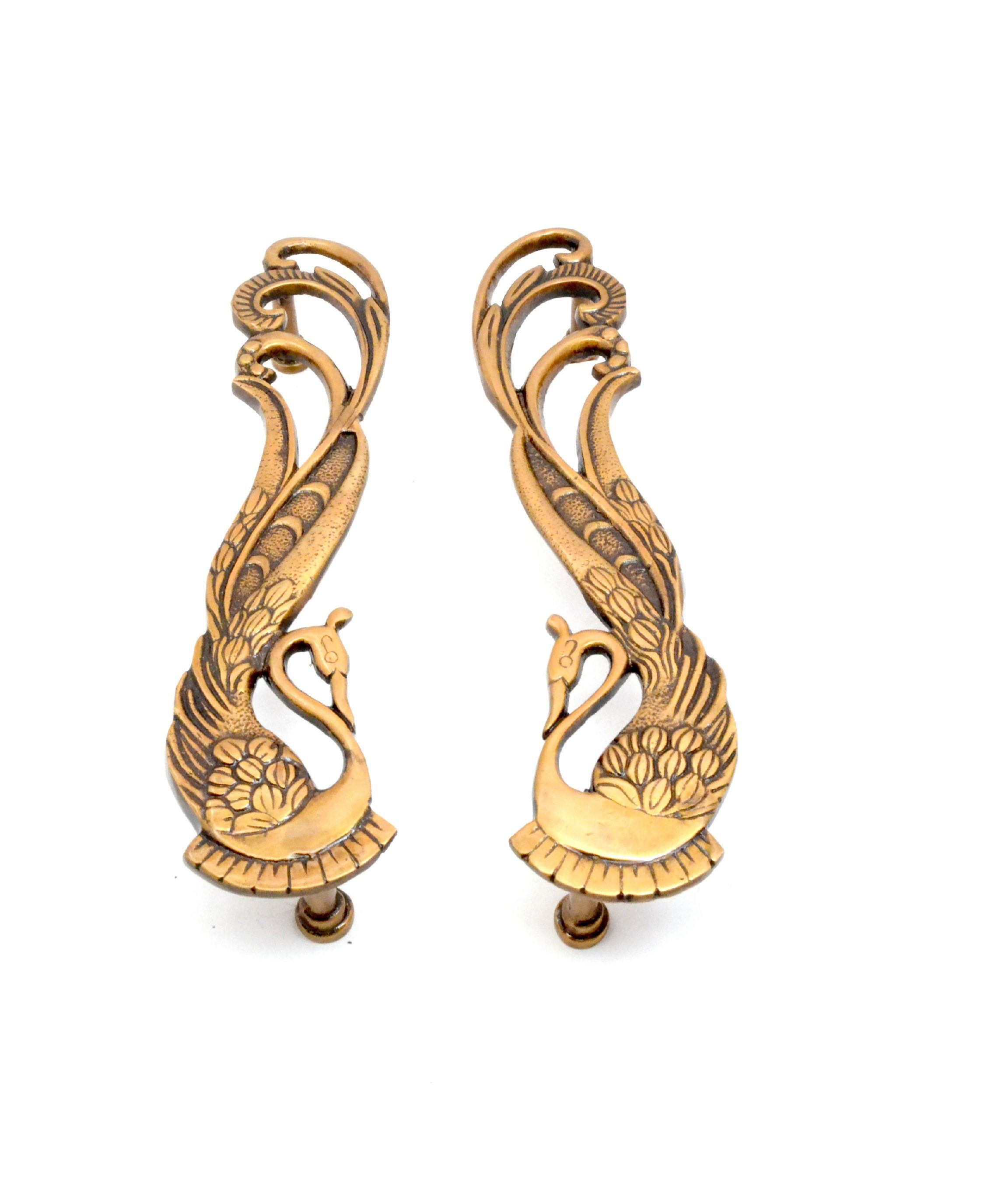 Peacock Design 11 Inches Brass Door Handle Pair Etsy In 2020 Brass Door Handles Door Handles Brass Door