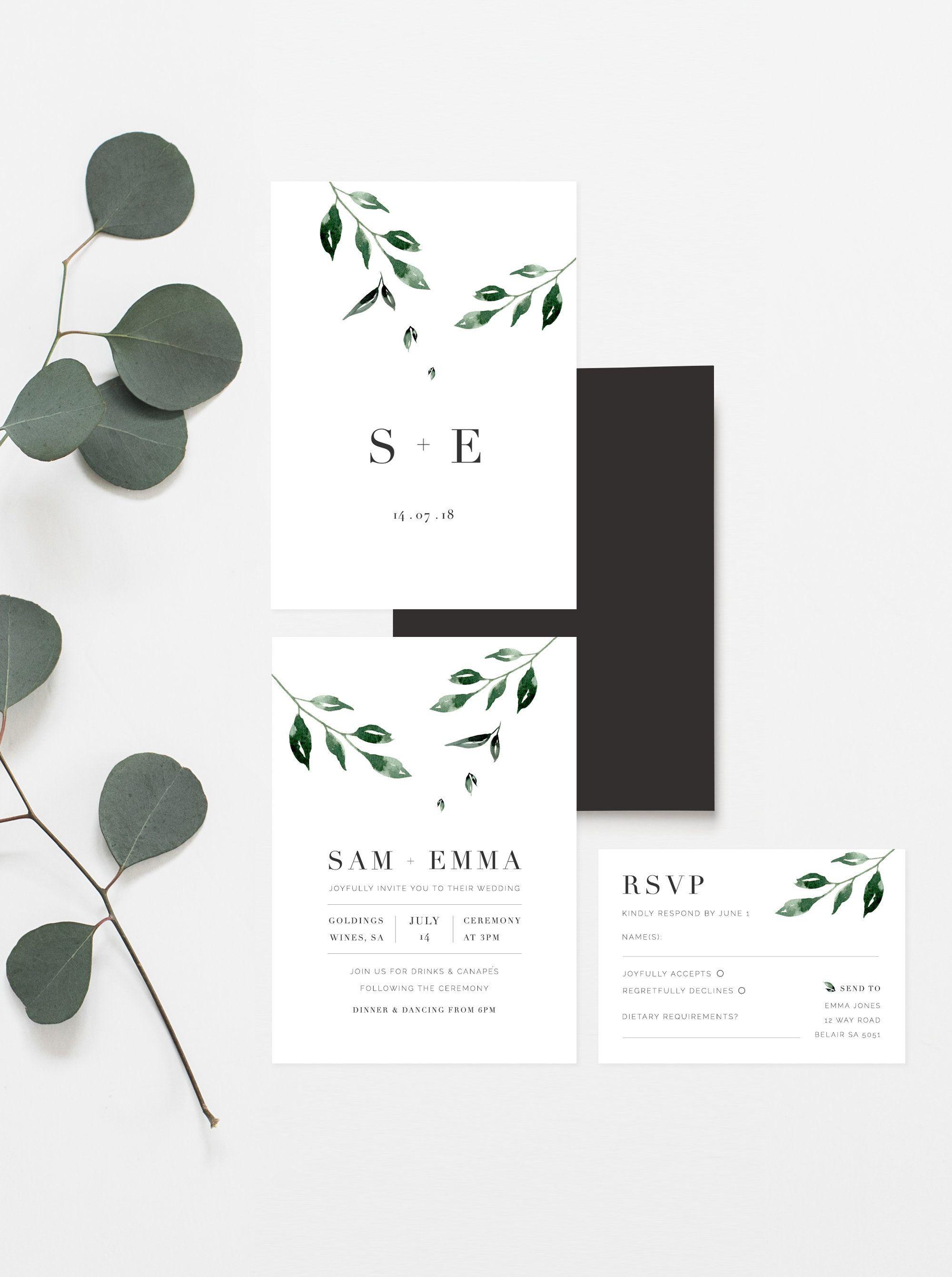 Minimal Leaf Wedding Invitation Printable Wedding Invitation