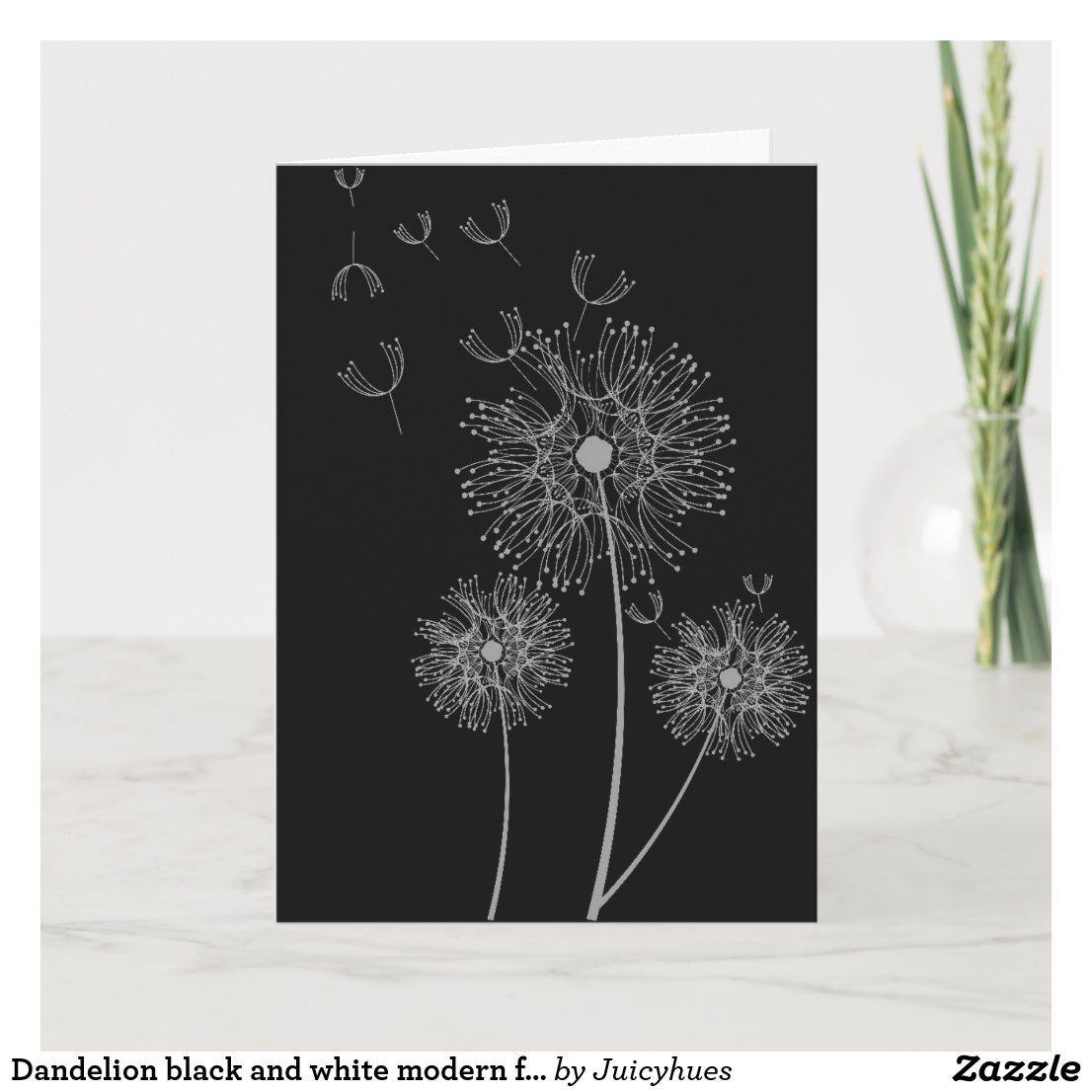 Dandelion Black And White Modern Floral Birthday Card Zazzle Com Birthday Cards Dandelion Art Modern Floral