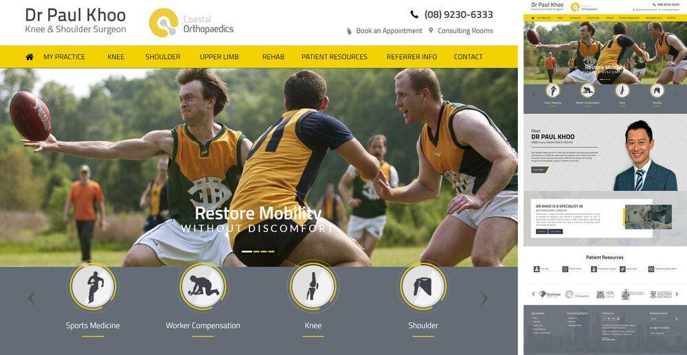 Knee & Shoulder Surgeon Website Design WA Medical