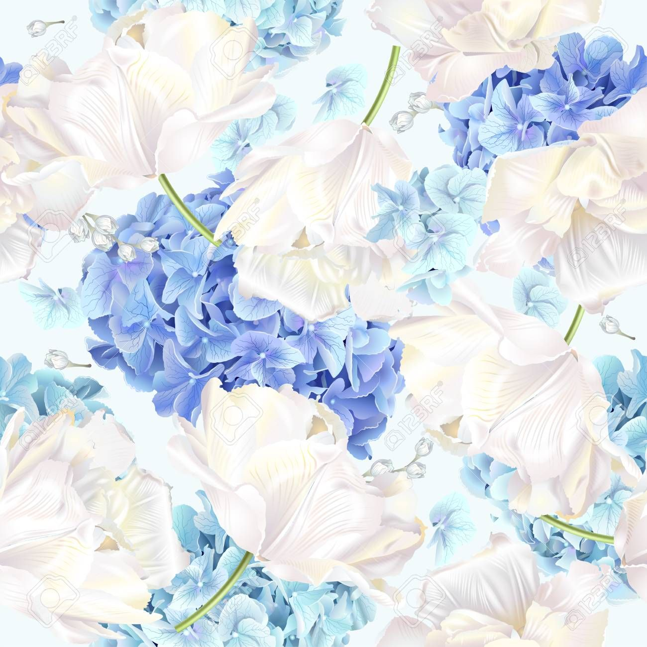 Vector Seamless Pattern With Blue And White Hydrangea Flowers On Blue Background Floral Design For Cosmetics Pe Cool Art Illustration Design Abstract Artwork