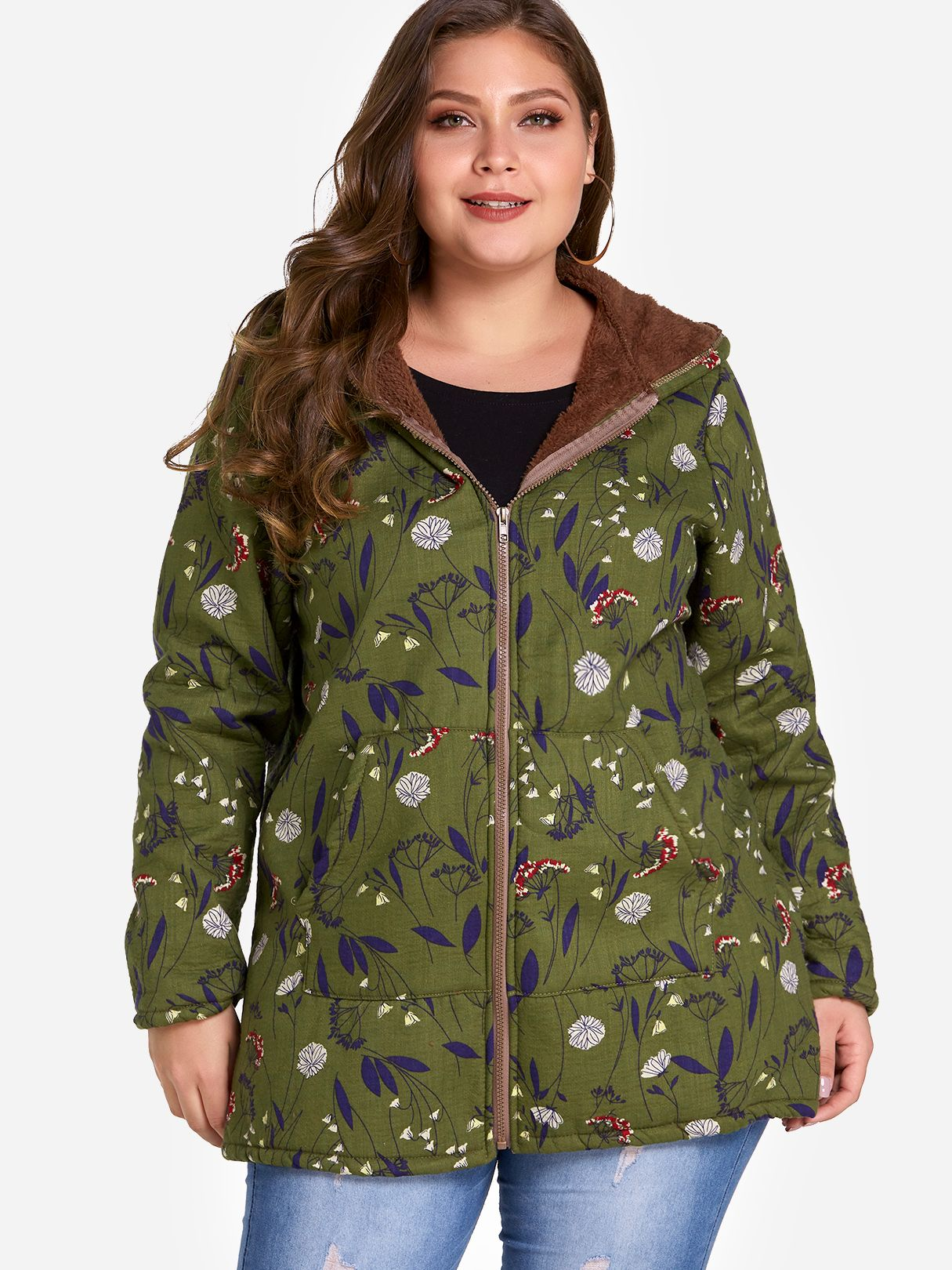 Womens Jacket Plus Size Green Hooded Design Random Floral Print Coat Click To Buy Affiliatelink Ad Womens Jacket Fashion Print Coat Jackets For Women [ 1620 x 1215 Pixel ]