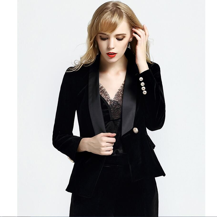 3a9571d2f4577 LXUNYI Autumn 2017 Black Velvet Coat jacket Women Long Sleeve Slim Double  Breasted Blazer Women Gold Buttons Suit Ladies Blazers - www.eneryoh.com