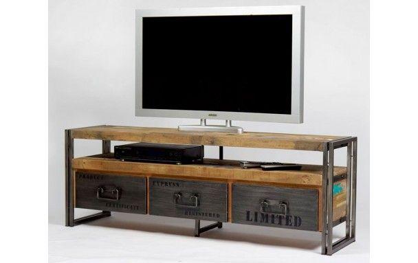 Meuble Tv Industriel 3 Tiroirs Factory Samudra 160 Cm Avec Images