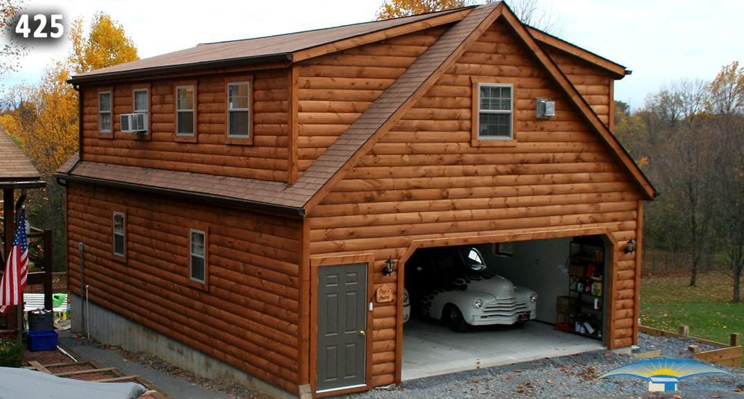 24x36 2 Car Modular Garage With Log Siding 2nd Floor Living Quarters